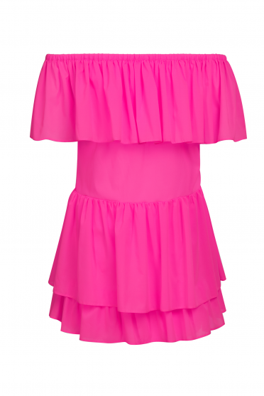 Neon ruffle mini dress
