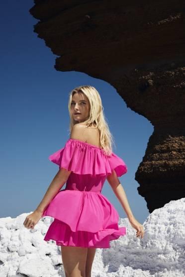 Neon ruffle mini dress